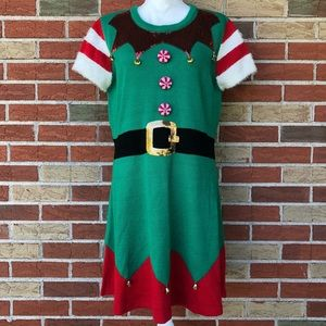 🎅 Holiday Time Short Sleeve Elf Sweater Dress